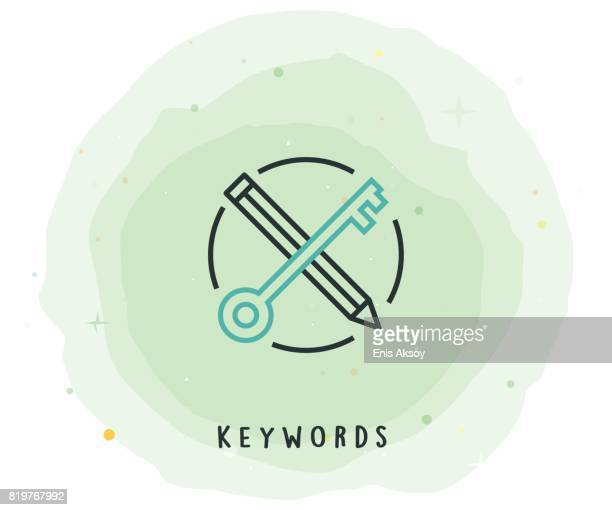 Keywords Icon with Watercolor Patch
