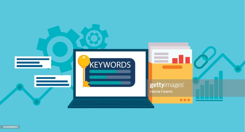Keywords tool word matching program.   Laptop with a folder of documents and graphs and key.