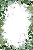 Khaki green vector splattered frame