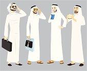 Khaliji Men Icons In Standing Positions
