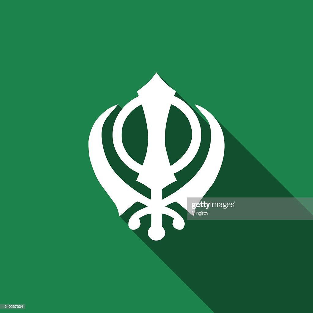 Khanda Sikh icon with long shadow.