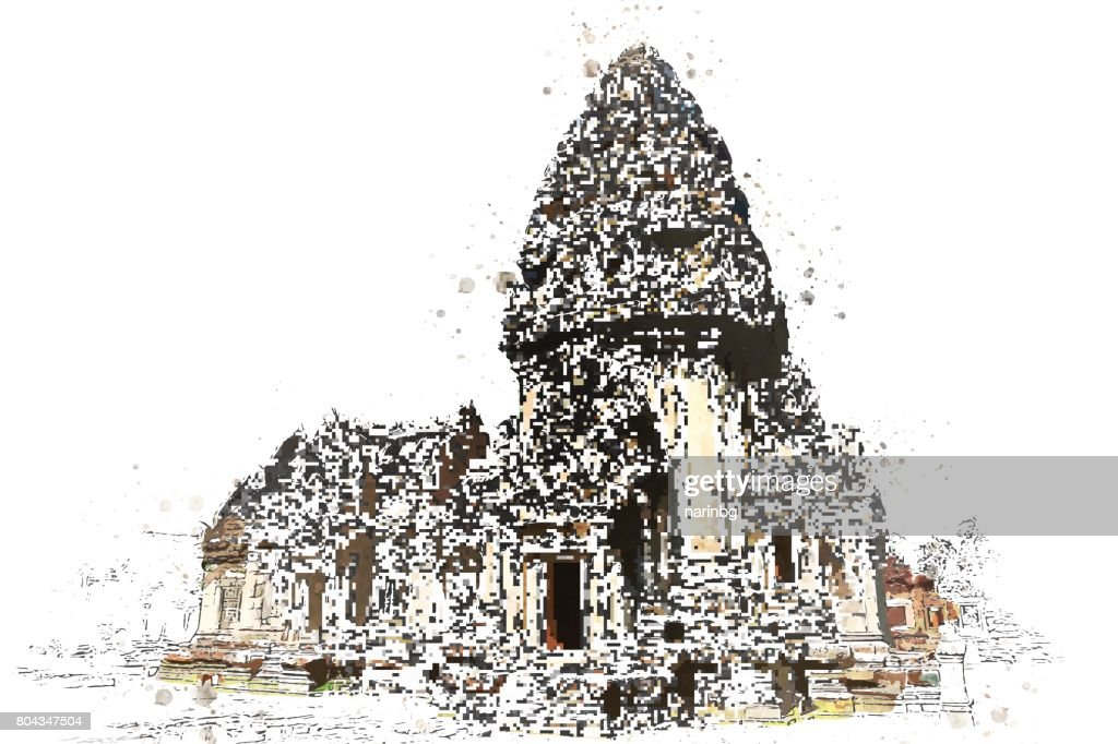 Khmer stone sanctuary in watercolor art of vector.
