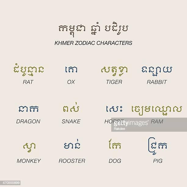 ilustrações, clipart, desenhos animados e ícones de khmer personagens do zodíaco ícones-série de cores - ram animal