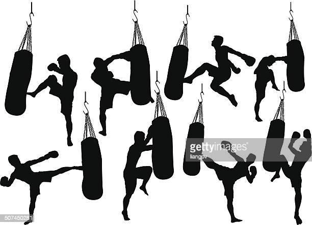 ilustrações de stock, clip art, desenhos animados e ícones de kick boxe - muay thai