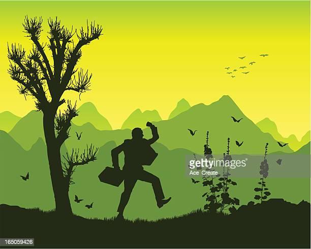 kick in the mountains - glühend stock illustrations