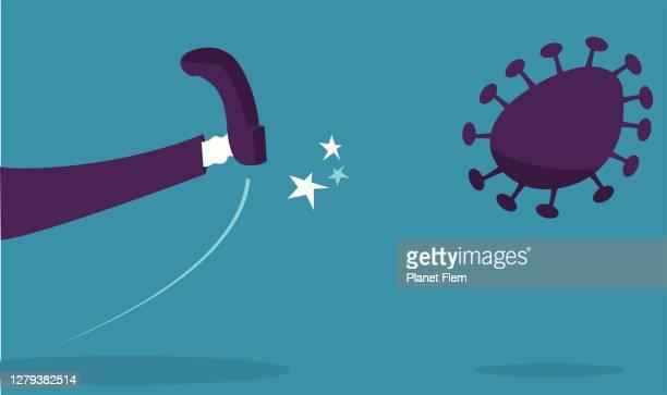 illustrations, cliparts, dessins animés et icônes de kick out le virus - donner un coup de pied