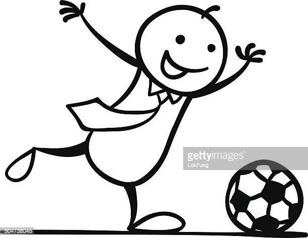 kick the ball! - drive ball sports stock illustrations, clip art, cartoons, & icons
