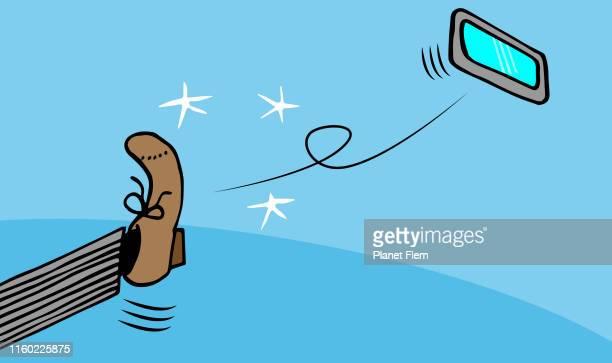 ilustraciones, imágenes clip art, dibujos animados e iconos de stock de ¡echa tu teléfono! - tirar basura