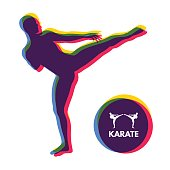 Kickbox fighter preparing to execute a high kick. Silhouette of a fighting man. Design template for Sport.