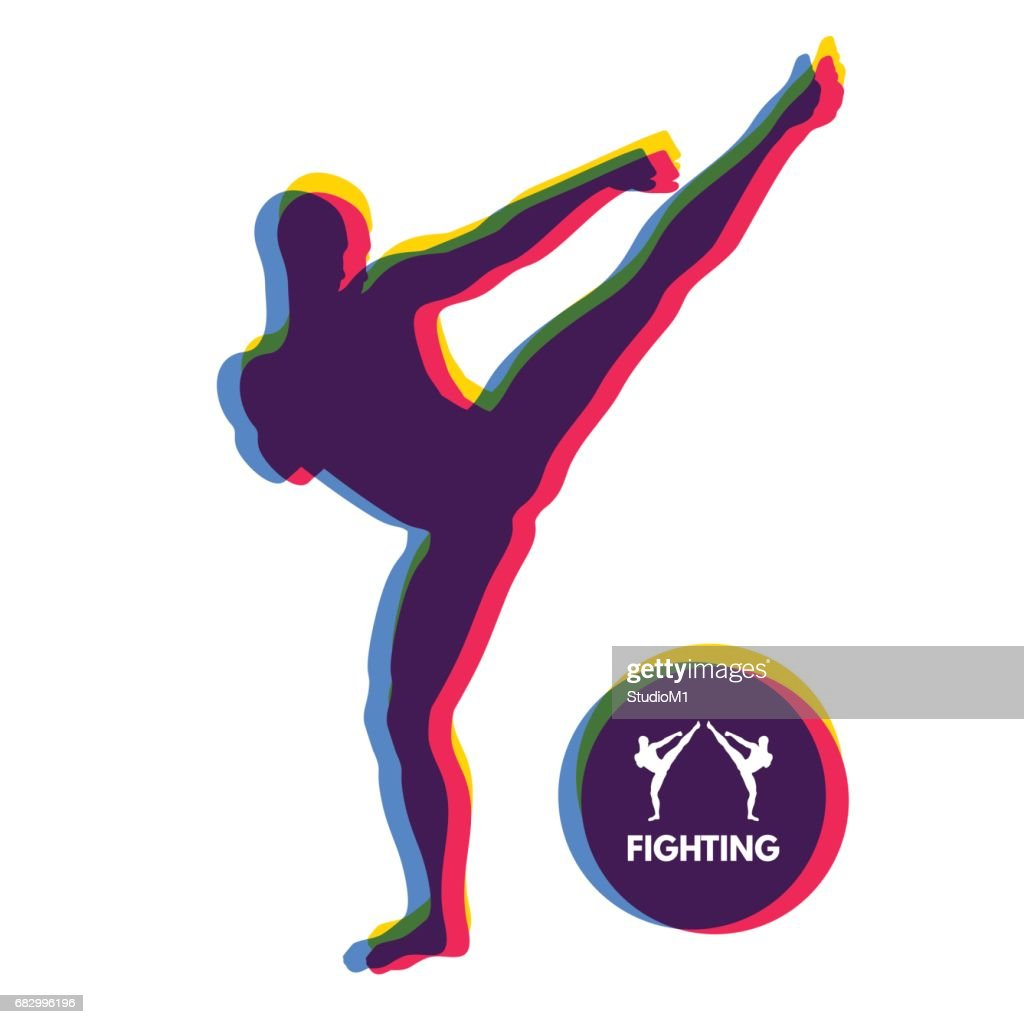 Kickbox fighter preparing to execute a high kick. Silhouette of a fighting man. Design template for Sport. Emblem for training.