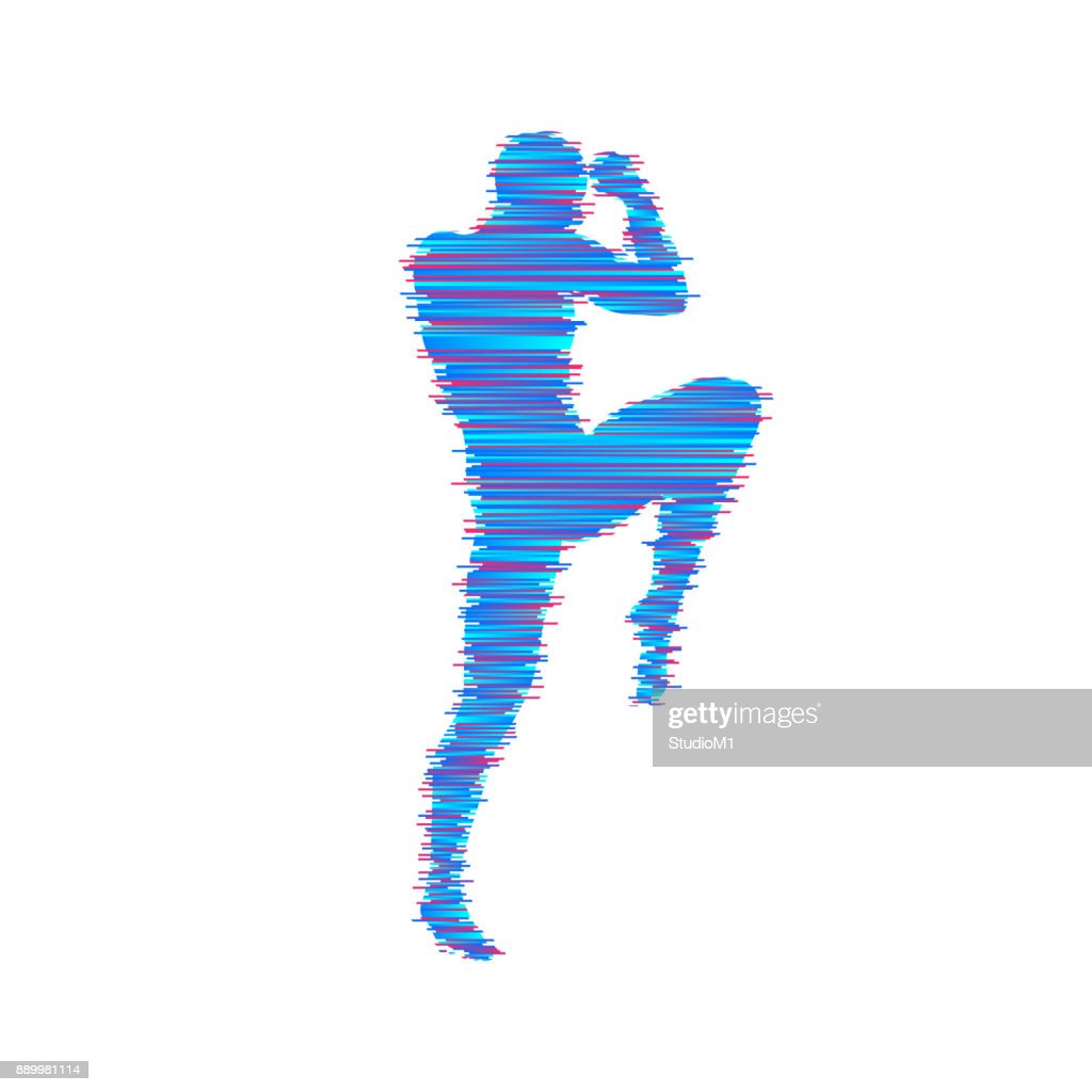 Kickbox fighter preparing to execute a high kick. Silhouette of a fighting man. Design template for sport. Emblem for training. Vector illustration.