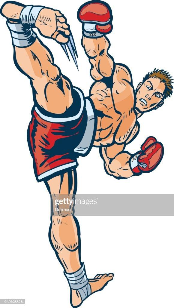 Kickboxer Executing High Side Kick Vector Illustration