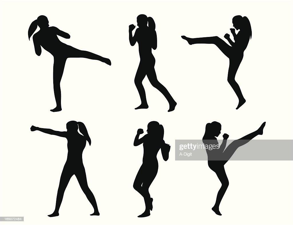 Kickboxing She Vector Silhouette