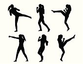Kickboxing She Vector Silhouette