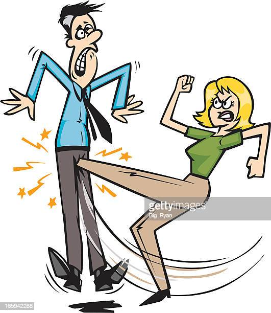 kicked in the balls - sexual harassment stock illustrations, clip art, cartoons, & icons