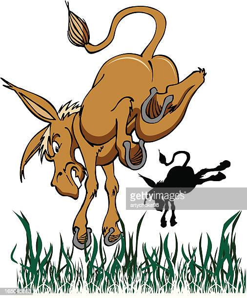 kicking ass - donkey stock illustrations, clip art, cartoons, & icons