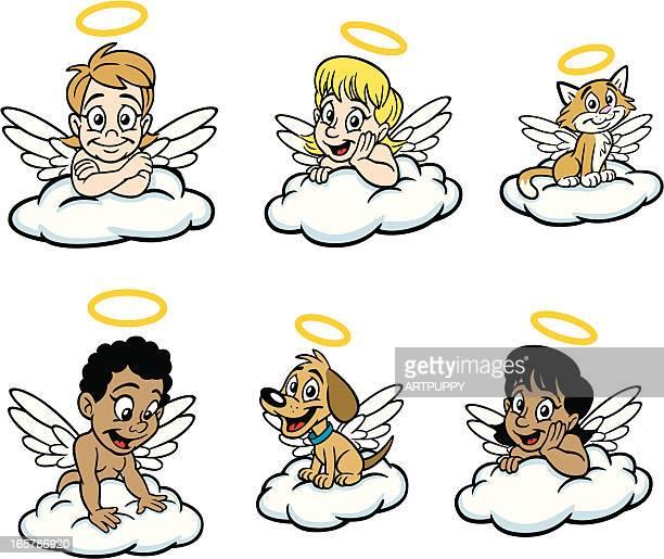 ilustraciones, imágenes clip art, dibujos animados e iconos de stock de kid angels - alas de angel