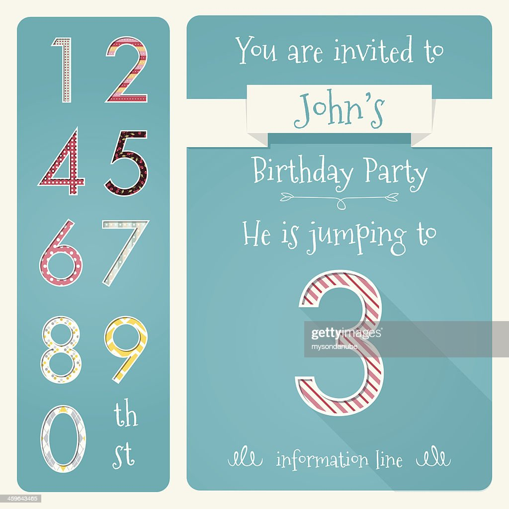 Kid Birthday Invitation Card Design Vector Illustration High