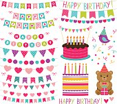 Kid birthday party vector decoration set