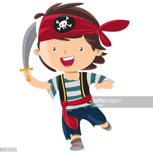 kid boy pirate cartoon - dressing up stock illustrations