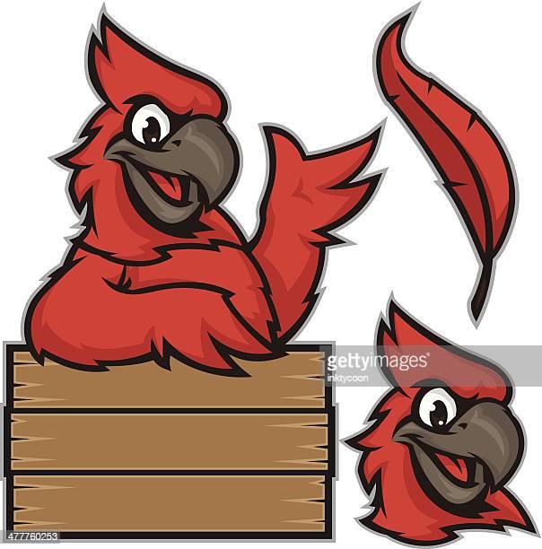 kid cardinal sign pack - cardinal bird stock illustrations, clip art, cartoons, & icons