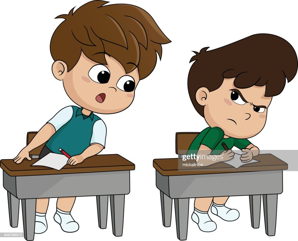kid copying from other student's paper during examination.