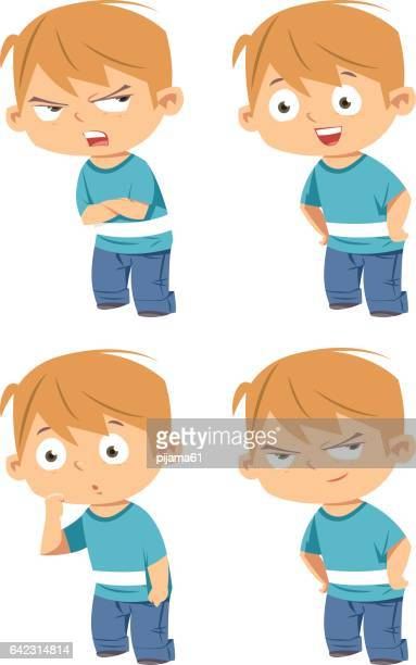 kid face expressions - anger stock illustrations