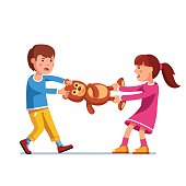 Kid girl, boy brother and sister fighting over toy