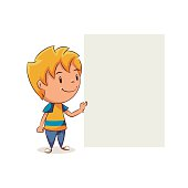 Kid holding blank note