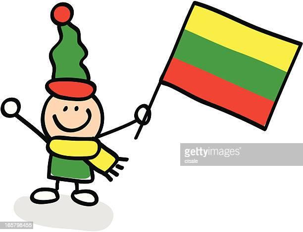 kid holding Lithuania flag cartoon illustration
