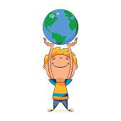 Kid holding planet earth