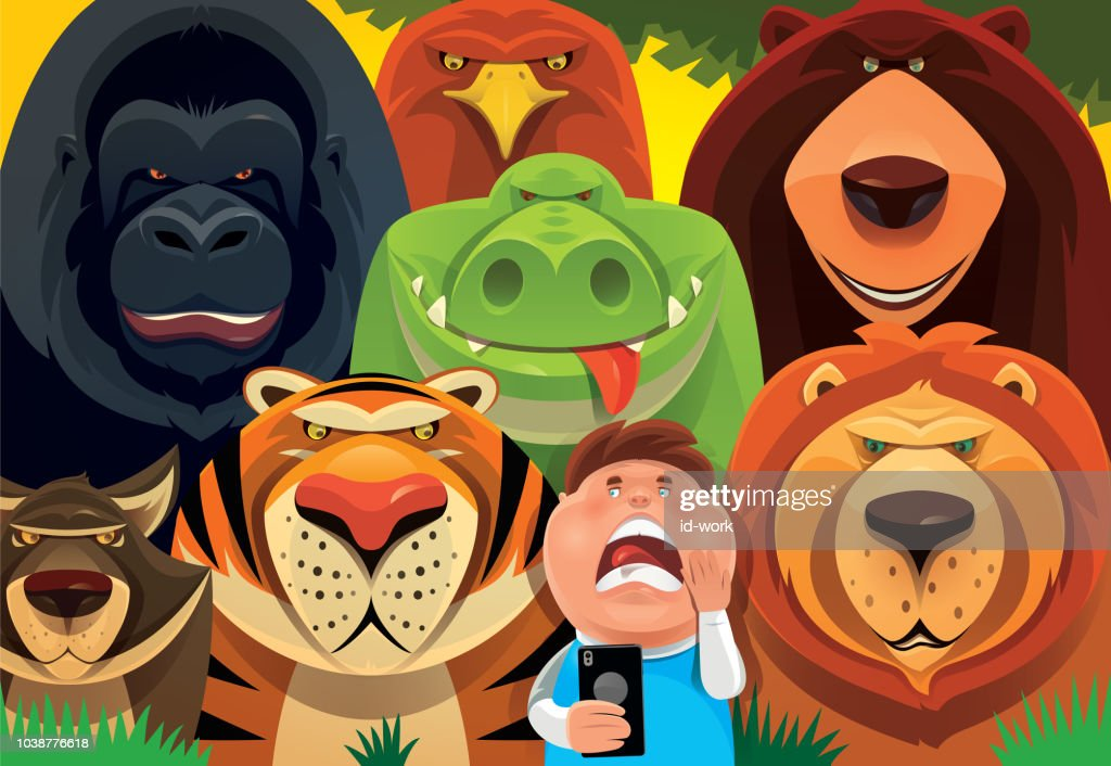 kid holding smartphone with wild animals in jungle