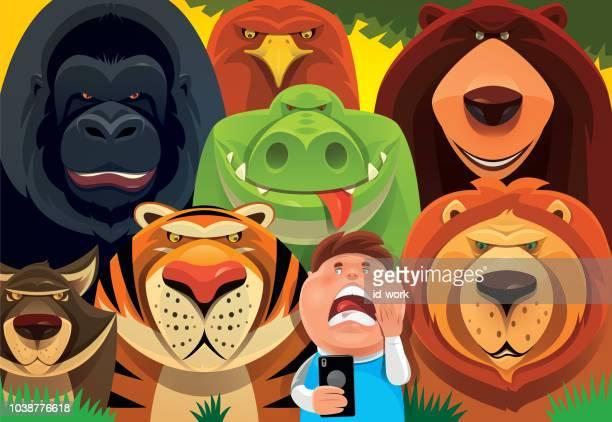 ilustraciones, imágenes clip art, dibujos animados e iconos de stock de cabrito con smartphone con animales salvajes en la selva - grupo de animales