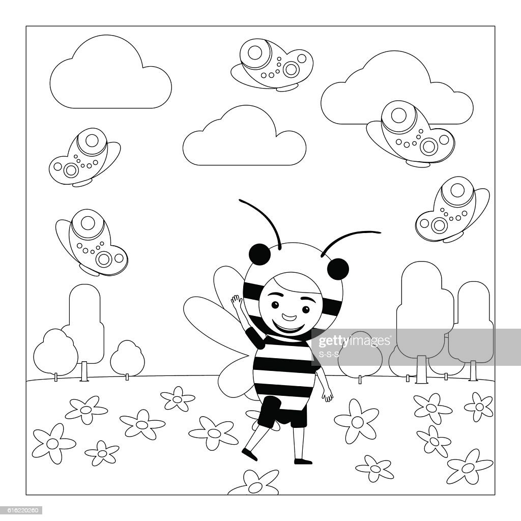 Kid in bee dress coloring page : Vector Art