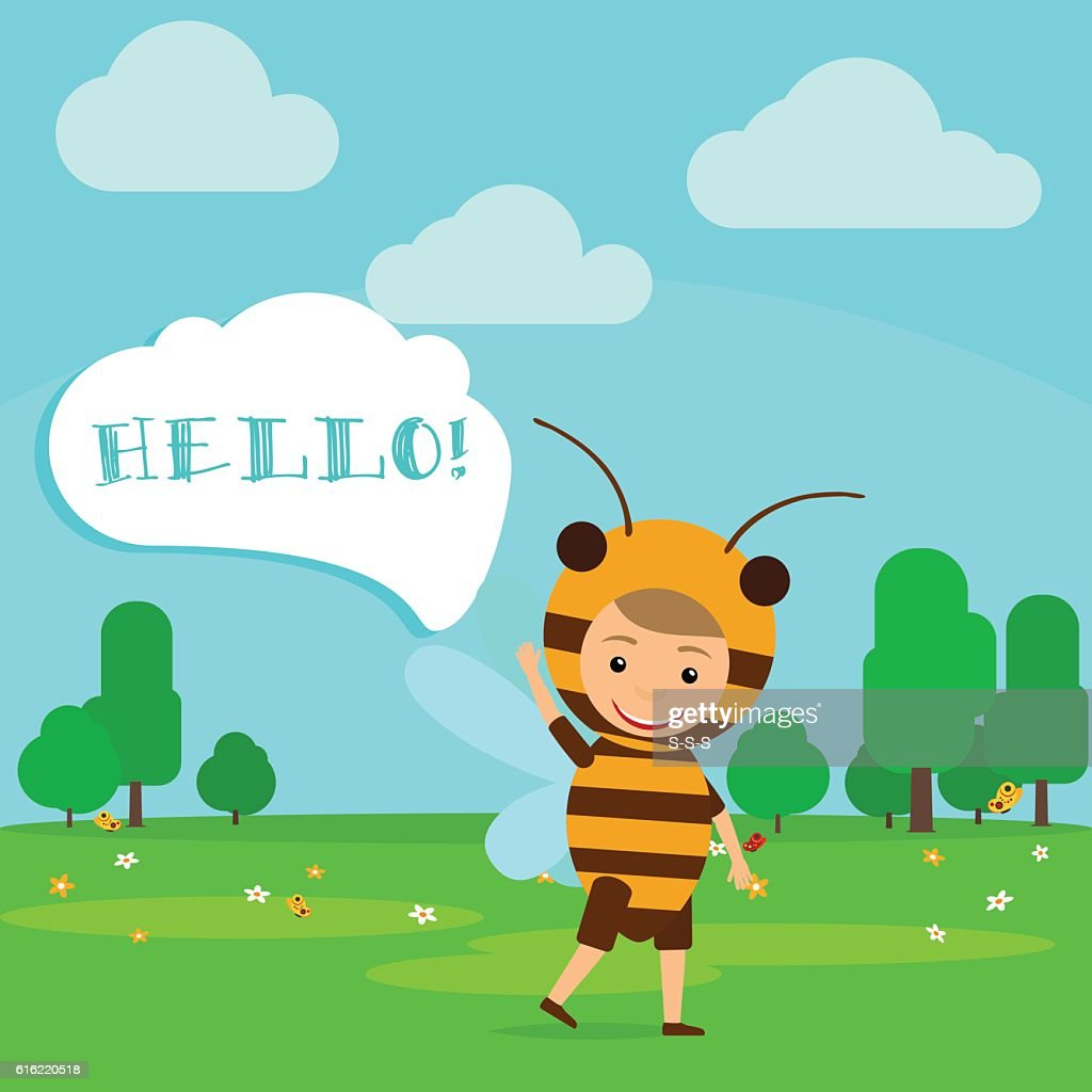 Kid in fancy bee dress : Vector Art