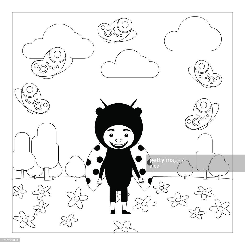 Kid in ladybug dress coloring page : Vectorkunst