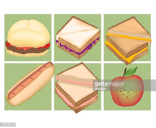 kid lunch favorites - bologna stock illustrations