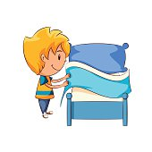 Kid making the bed