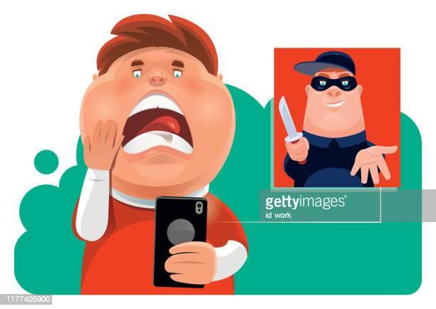 ilustrações de stock, clip art, desenhos animados e ícones de kid meeting robber via smartphone - cyberbullying