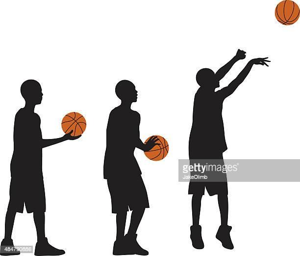 Kid Playing Basketball Silhouettes