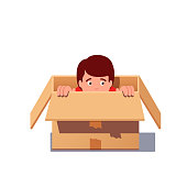 Kid playing hide and seek, hiding in a cardboard box. Flat isolated vector