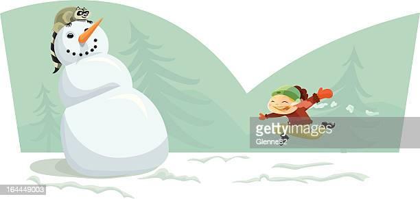 Kind Spielen im Schnee