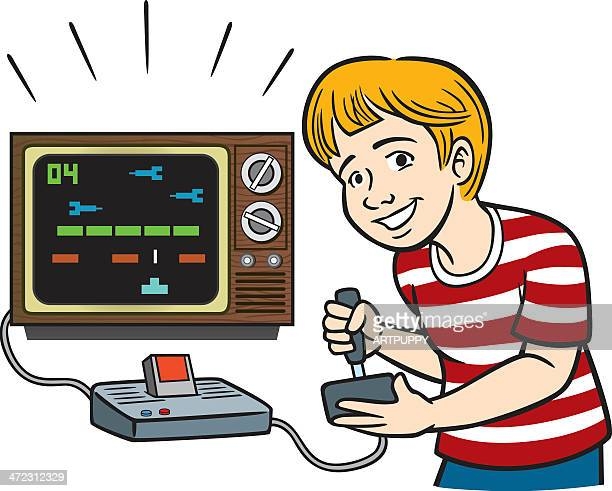 kid playing vintage video game - joystick stock illustrations, clip art, cartoons, & icons