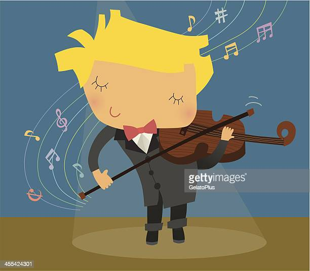kid playing violin - classical theater stock illustrations, clip art, cartoons, & icons