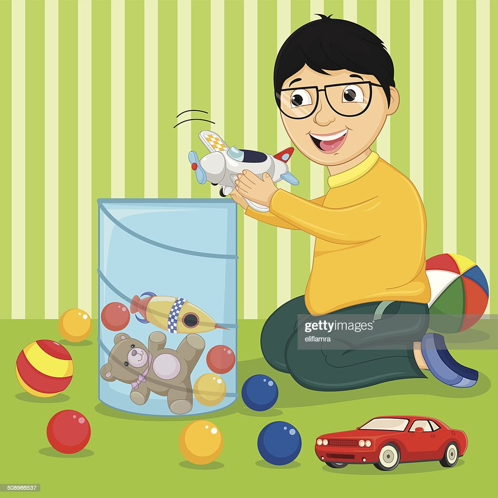 Kid Playing With Toys Vector Illustration Vector Art Getty Images