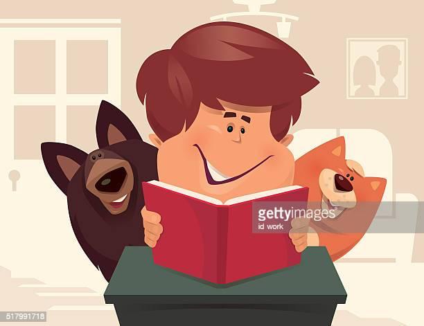 illustrations, cliparts, dessins animés et icônes de enfant lisant avec chien et chat - chat humour