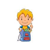 Kid school supplies backpack
