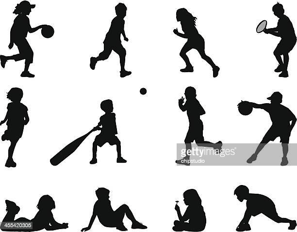 kid silhouette - batting sports activity stock illustrations