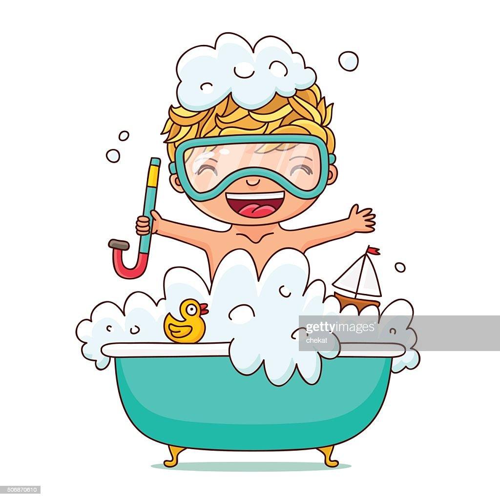 Kid sits in a foam bath