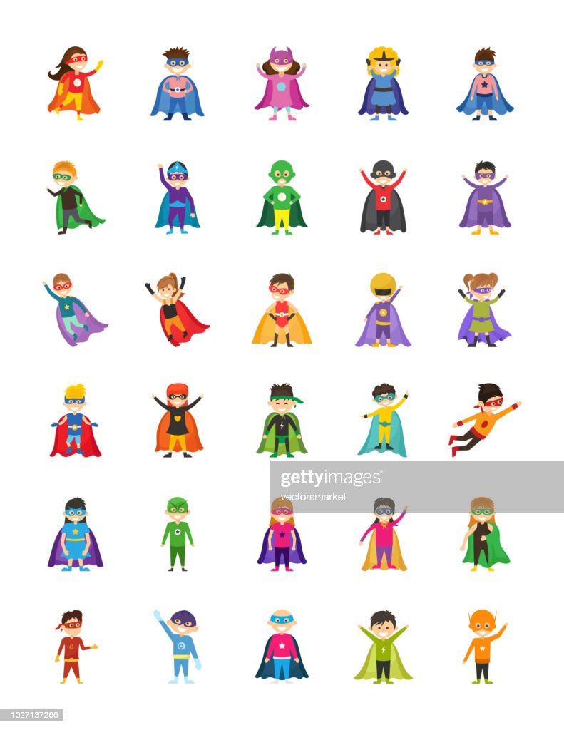 Kid Superheroes Cartoon Illustrations